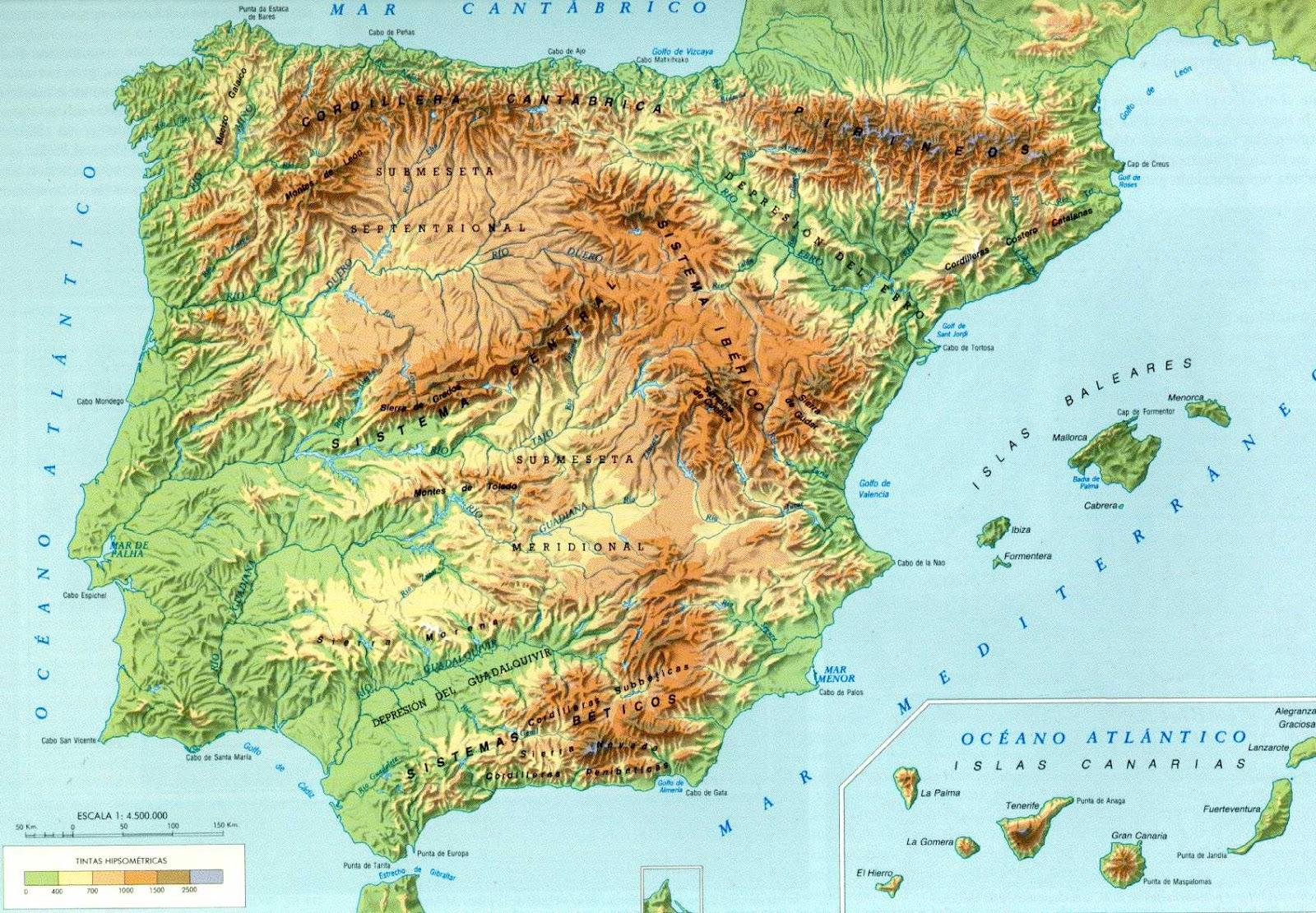 mapa fisico da peninsula iberica Biblioteca de Alejandría 3.0: Mapa físico de la península Ibérica mapa fisico da peninsula iberica