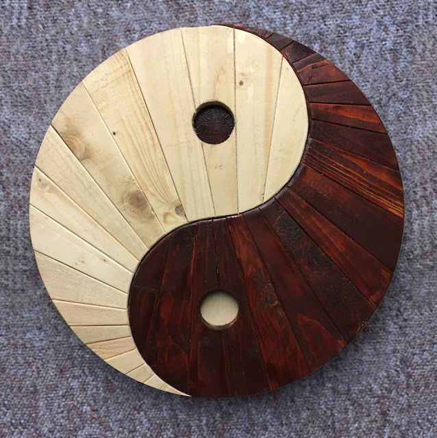 Yin Yang Wooden Wall Art made with Reclaimed Wood