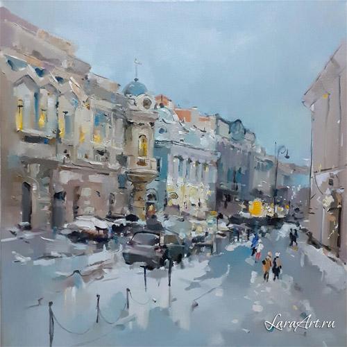 Декабрь, живопись, улица Рождественская