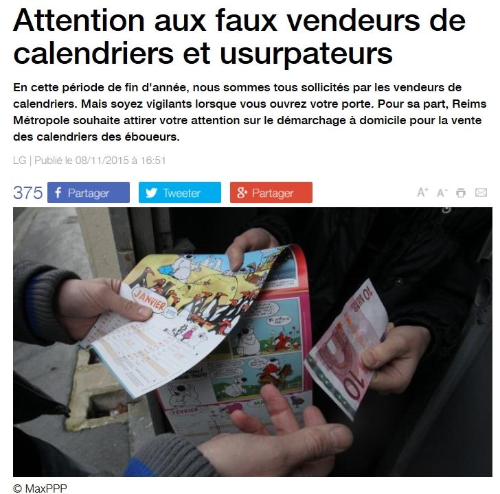 Attention aux faux vendeurs de calendriers et usurpateurs