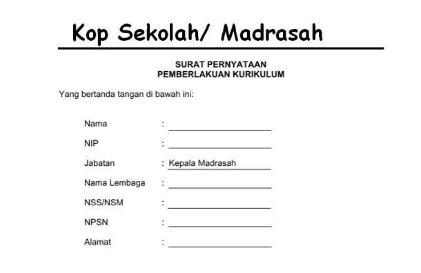 Surat Pemberlakukan Kurikulum Sekolah/ Madrasah