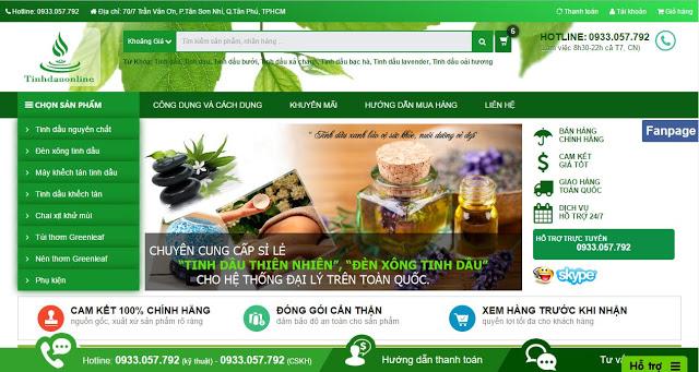 Mẫu template blogspot bán hàng free (Template Bán Hàng - Tinh Dầu Online Đẹp)