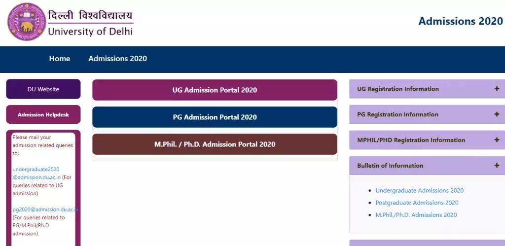 DU PG Admission 2020