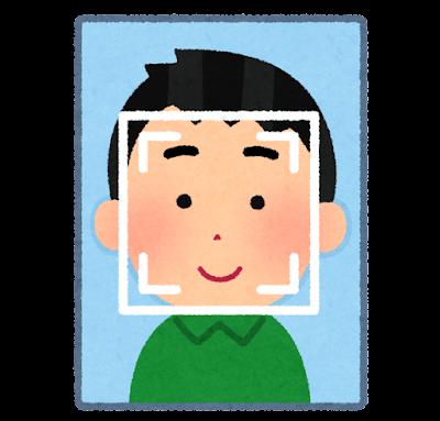 顔認証システムのイラスト(男性)