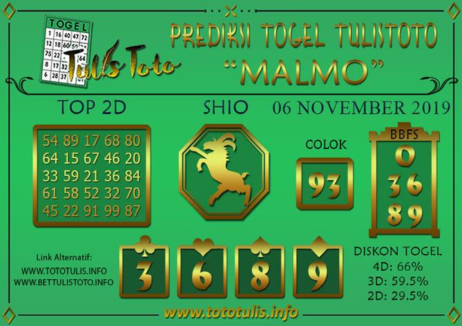 Prediksi Togel MALMO TULISTOTO 06 NOVEMBER 2019