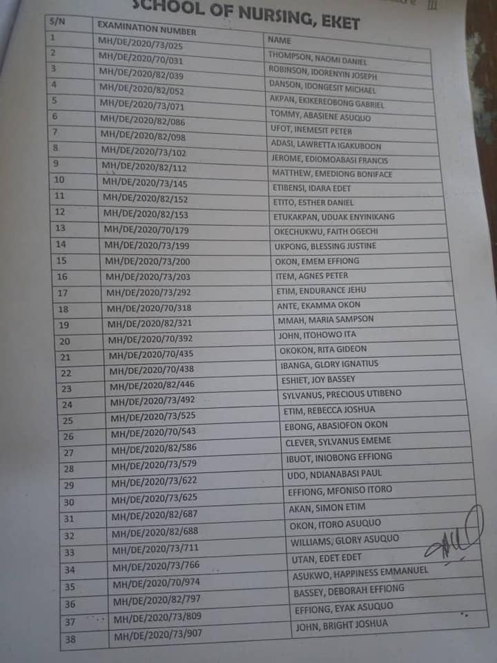 Akwa Ibom State Schools of Nursing Admission List 2020/2021