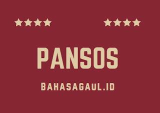 Arti Pansos Bahasa Gaul, Apa Arti Pansos dalam Bahasa Gaul?