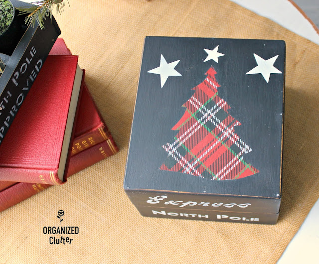 Christmas Crates Stenciled Box & Drawer #oldsignstencils #dixiebellepaint #primamarketingtransfers #plaid #Christmas #upcycle #stencil
