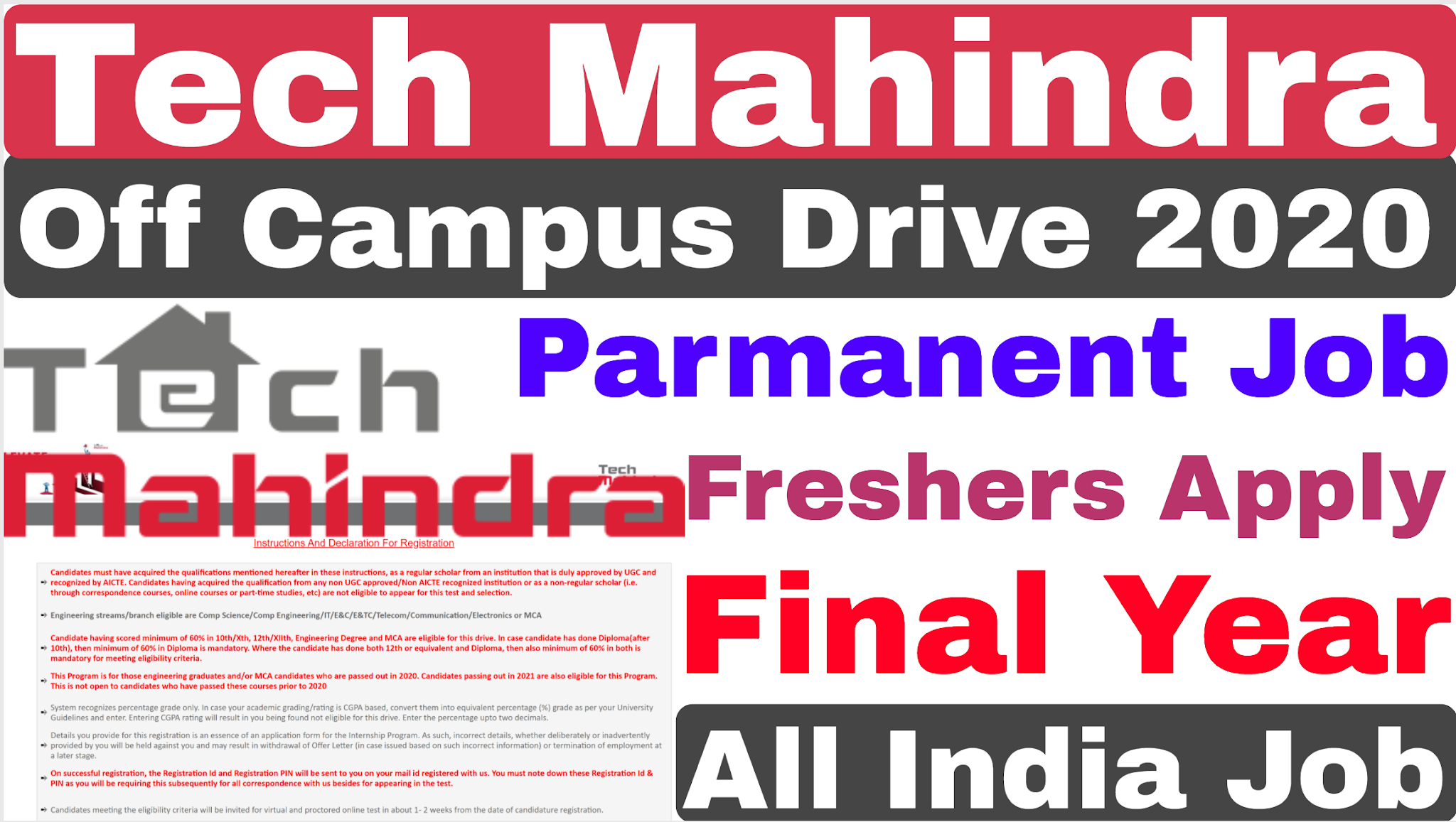 Tech Mahindra Off Campus Recruitment 2020 Final Year Eligible Tech Mahindra Form Fill Up 2020 Technical Department