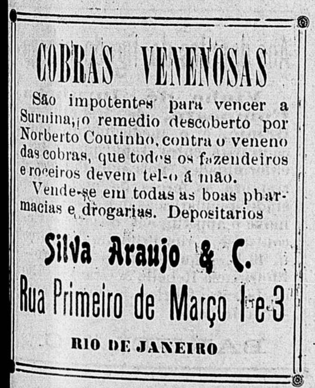 Anúncio de 1903 apresentava remédio para combater cobras