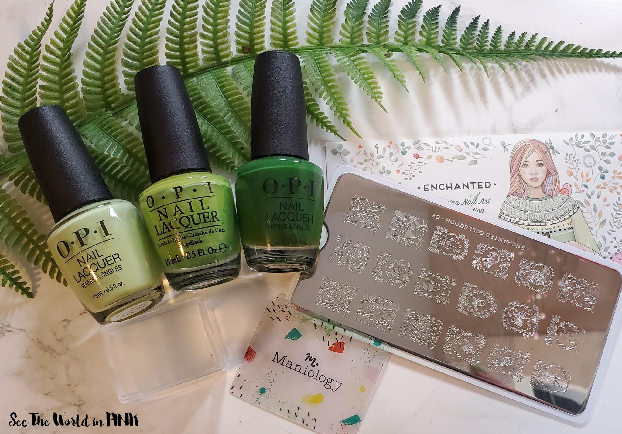 Manicure Monday - Green Foliage Stamped Nails