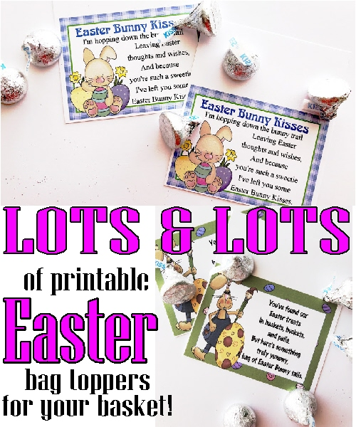 Lots of easter printable bag toppers for your easter baskets they make simple and sweet gifts for everyone on your list including your kids sunday school class friends co workers neighbors and surprise easter negle Gallery