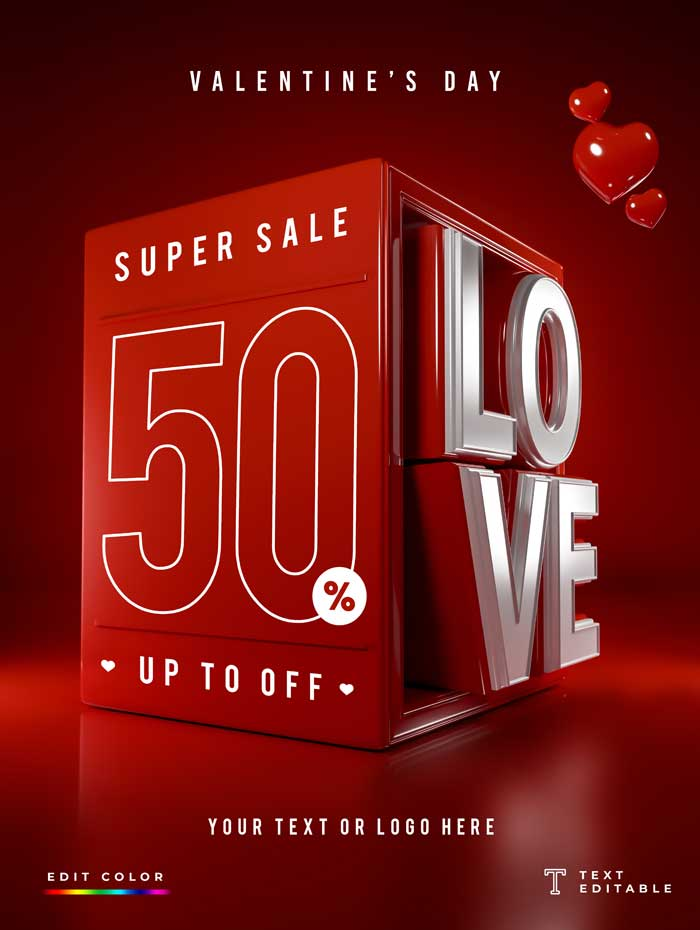 Special Offer Valentine's Day 3D Mockup