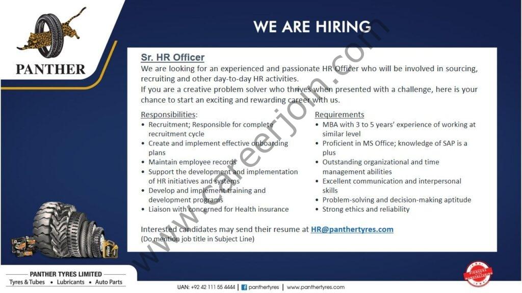 Panther Tyres Ltd Jobs 2021 in Pakistan -  Current Openings in Panther Tyres - Apply at hr@panthertyres.com
