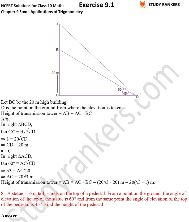 NCERT Solutions for Class 10 Maths Chapter 9 Some Applications of Trigonometry Exercise 9.1 Part 5