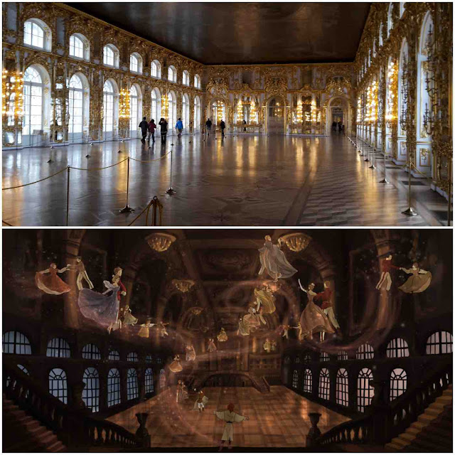 The ballroom at the Catherine Palace as compared to its depiction in the movie Anastasia