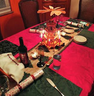 Table set for Christmas Eve Dinner