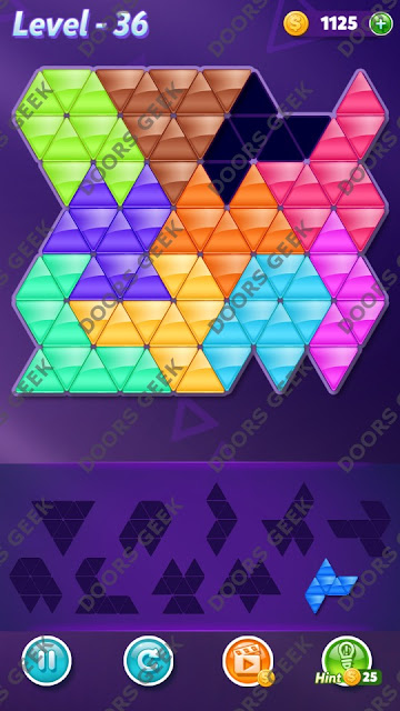 Block! Triangle Puzzle 10 Mania Level 36 Solution, Cheats, Walkthrough for Android, iPhone, iPad and iPod