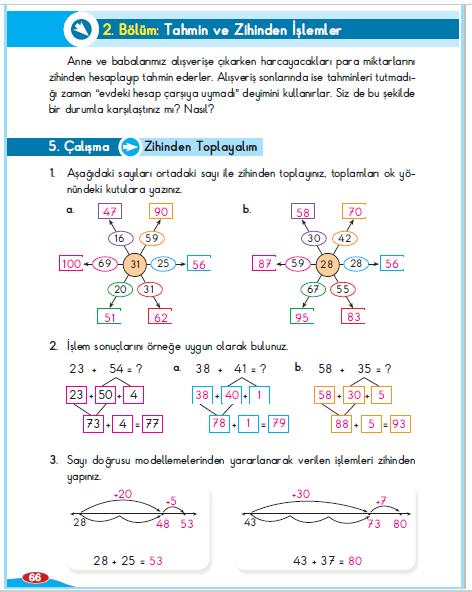 3. Sınıf Berkay Yayınları Matematik Çalışma Kitabı 66. Sayfa Cevapları Zihinden Toplayalım 5. Çalışma