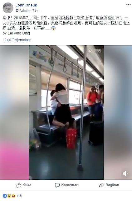 Kesurupan Makhluk Halus, Wanita Ini Menggigit Seluruh Penumpang MRT Sampai Menjilat Darah