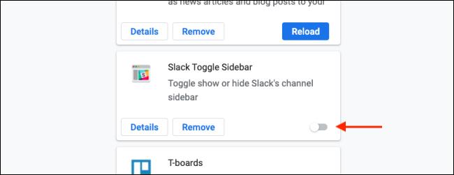 انقر فوق تبديل لتعطيل ملحق Chrome
