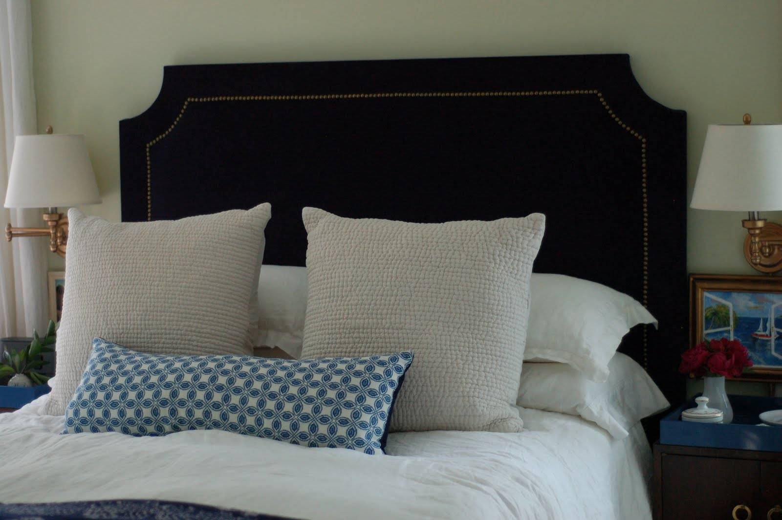 12 devonshire: DIY Upholstered Headboard with Nailhead Trim