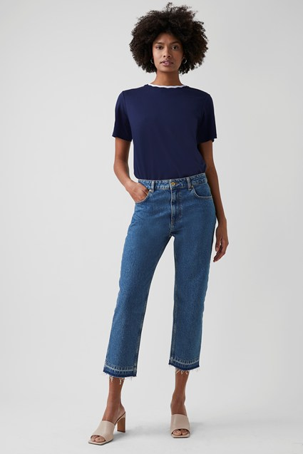 my midlife fashion, Great Plains heavy denim straight leg jeans