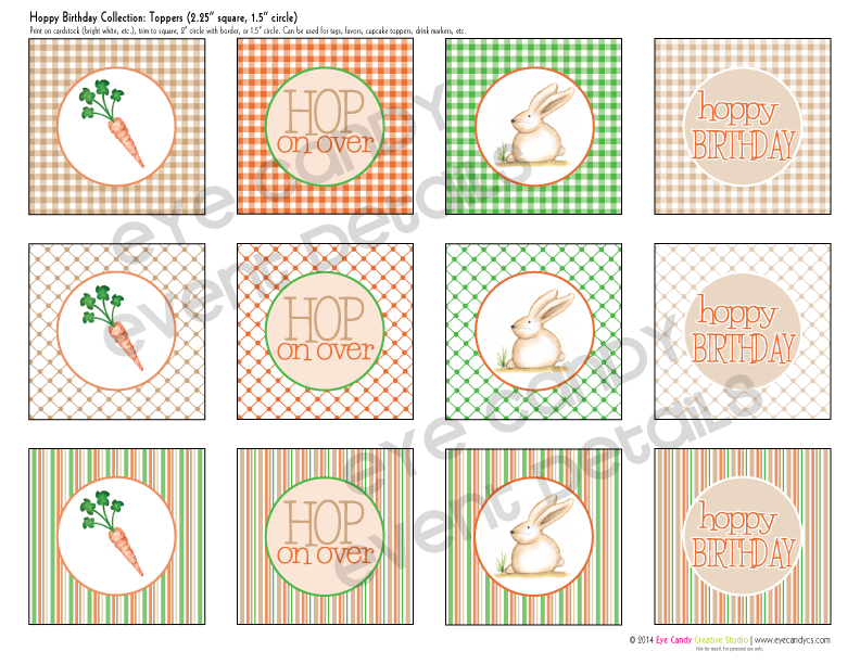 easter birthday, easter birthday toppers, birthday tags, easter bunny, carrot illustration