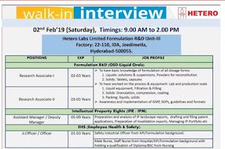 Walk in interview@ Hetero for multiple positions on 2 February