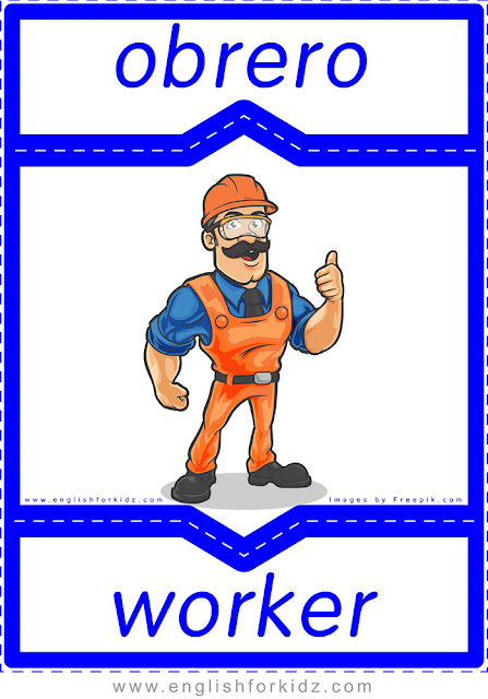 Worker in Spanish, English-Spanish flashcard