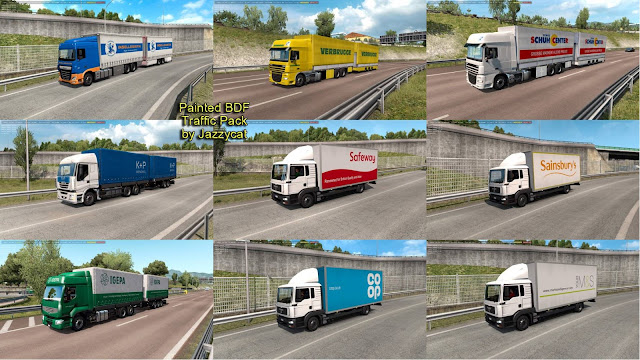 ets 2 painted bdf traffic pack v6.2 by jazzycat screenshot, new bdf trucks with v6.2, Insellogistik, Verbrugge, Siemes Schuh Center, Sainsbury's, Safeway, K + P Mencwel, Igepa, Co-op, Marks & Spencer