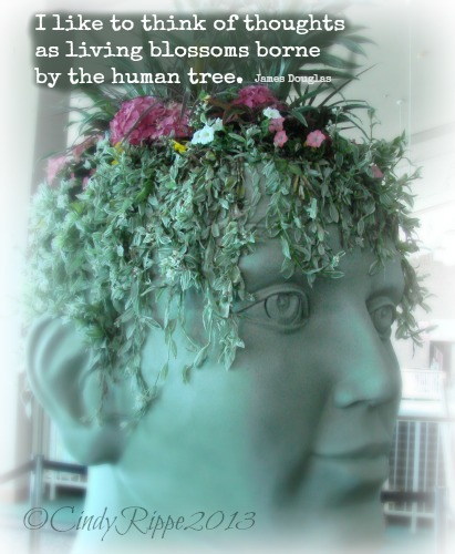 Chicago Flower & Garden Show 2013, funky planters, thoughts as living blossoms, head sculpture, Florals-Family-Faith, Cindy Rippe
