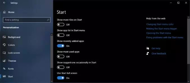 Cara Mengubah Tampilan Start Menu Windows 10-3