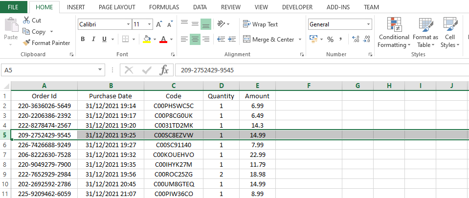 One row is selected in Excel sheet
