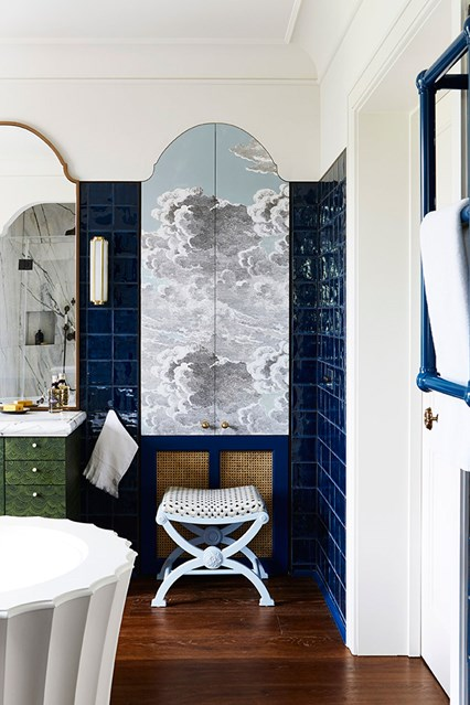 Blue and white in bathroom- design addict mom