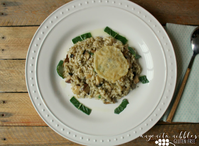 A serving of Gluten Free Mushroom Risotto with Parmesan Crisp and Sage Oil | Anyonita Nibbles