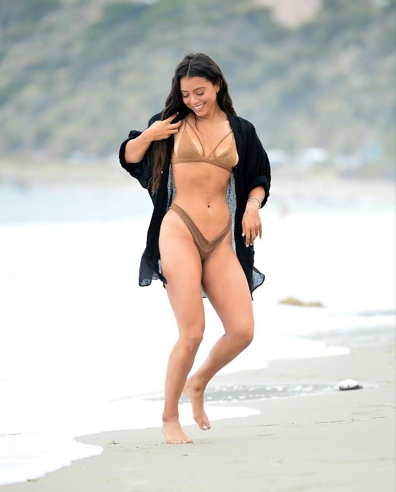 Michelle Hayden in Bikini on the Beach in Malibu 21 Jun -2020