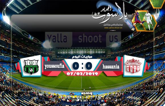 اهداف مباراة حسنية اكادير ويوسفية برشيد اليوم الخميس  07-02-2019 الدوري المغربي