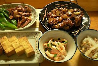 鶏ガーリック イカの和え物 絹揚げ しし唐イカバター焼き