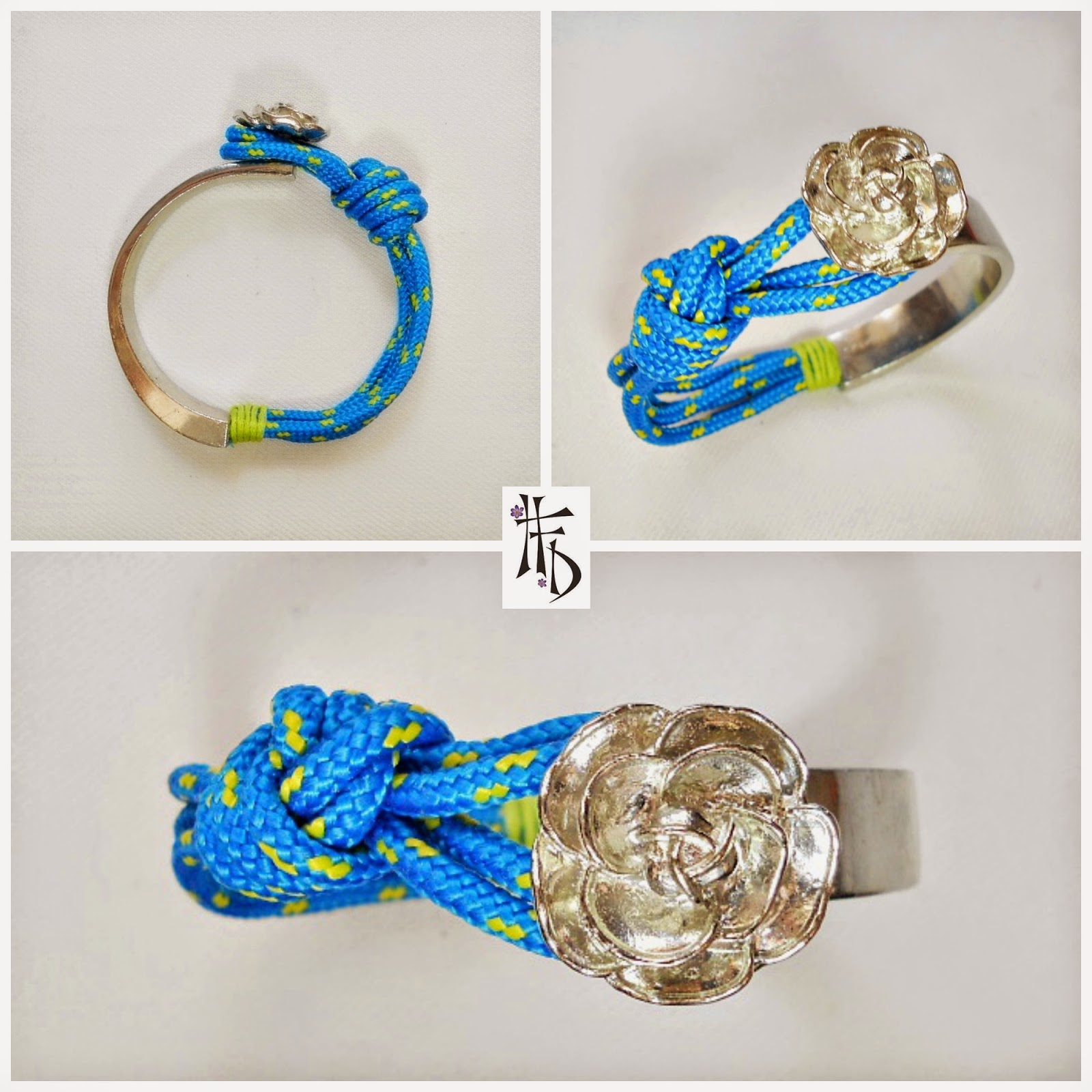 NAVY FLOWER. Media pulsera con cuerda de paracaidas / Media bracelet with parachute cord