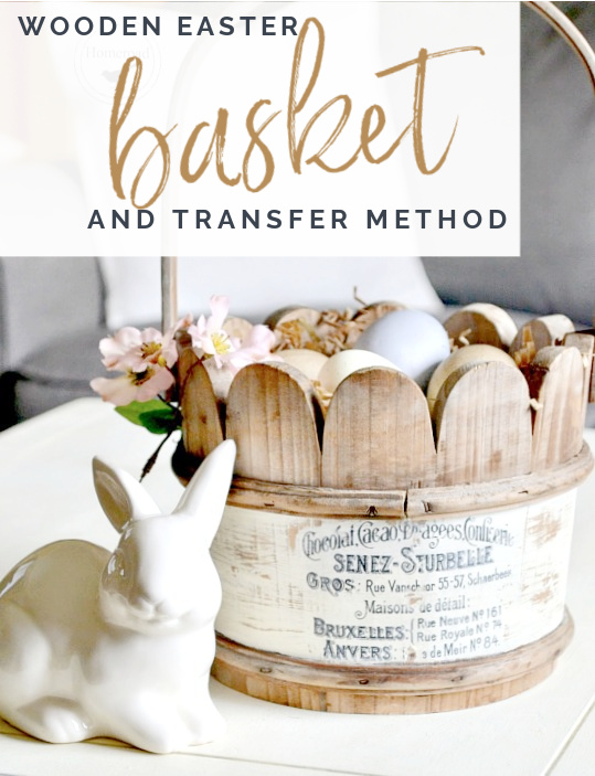 wooden basket with transfer and bunny with overlay