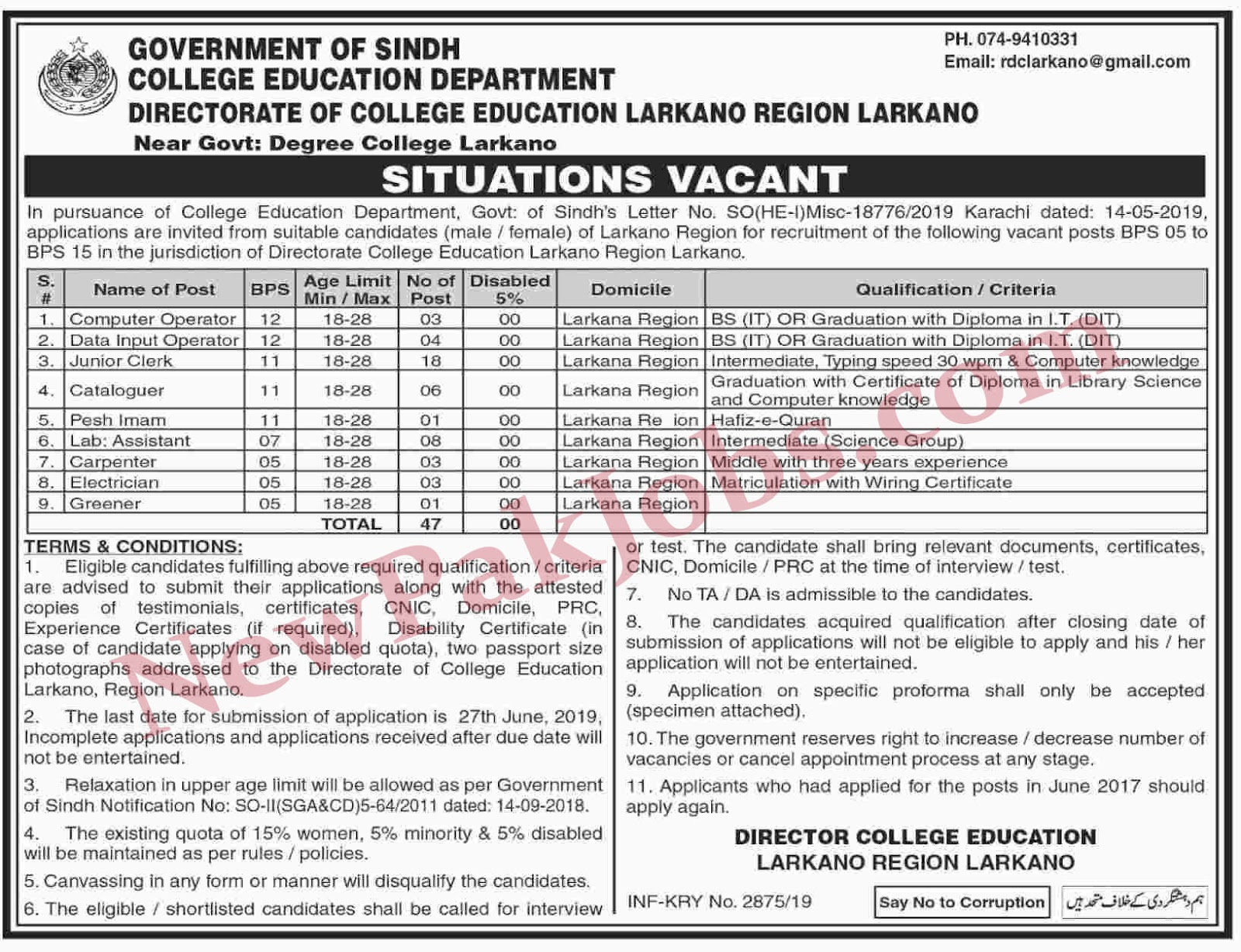 Jobs in College Education Department Larkano