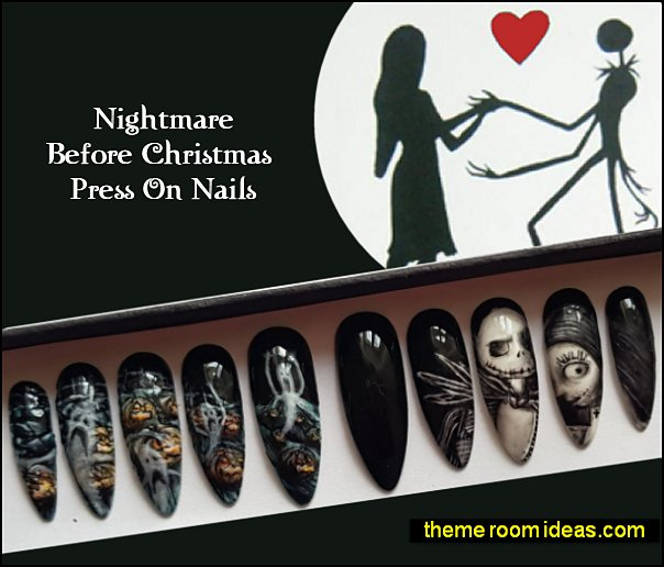 Nightmare Before Christmas decorated nails Nightmare Before Christmas decorating nail designs