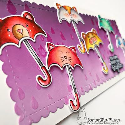 You Make Rainy Days Brighter Card by Samantha Mann for Newton's Nook Designs, Slimline Card, Card Making, DIY Cards, Distress Oxide Inks, Ink Blending #newtonsnook #slimlinecards #distressinks #distressoxide #inkblending