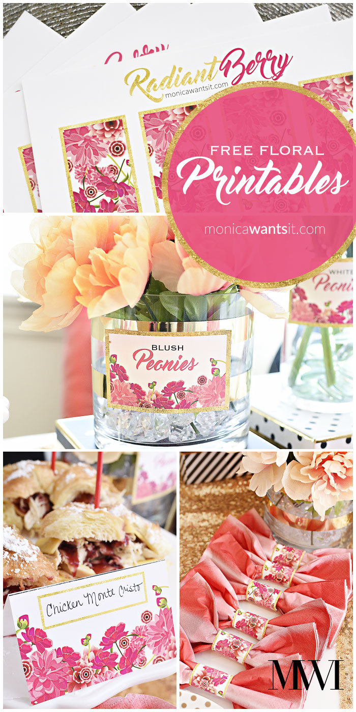 Free printable menu/placecards, napkin rings and labels that feature beautiful pink flowers and a fun faux foil gold border. (via monicawantsit.com)