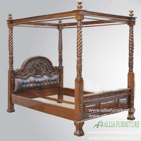 tempat tidur kanopi kain ukiran kanista