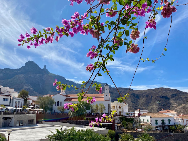 View of Tejeda church and the Roque Nublo in the mountains, with branches of flowers in the foreground - Tejeda, Gran Canaria, Spain