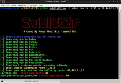 Sublist3r v1.0 - Fast subdomains enumeration tool