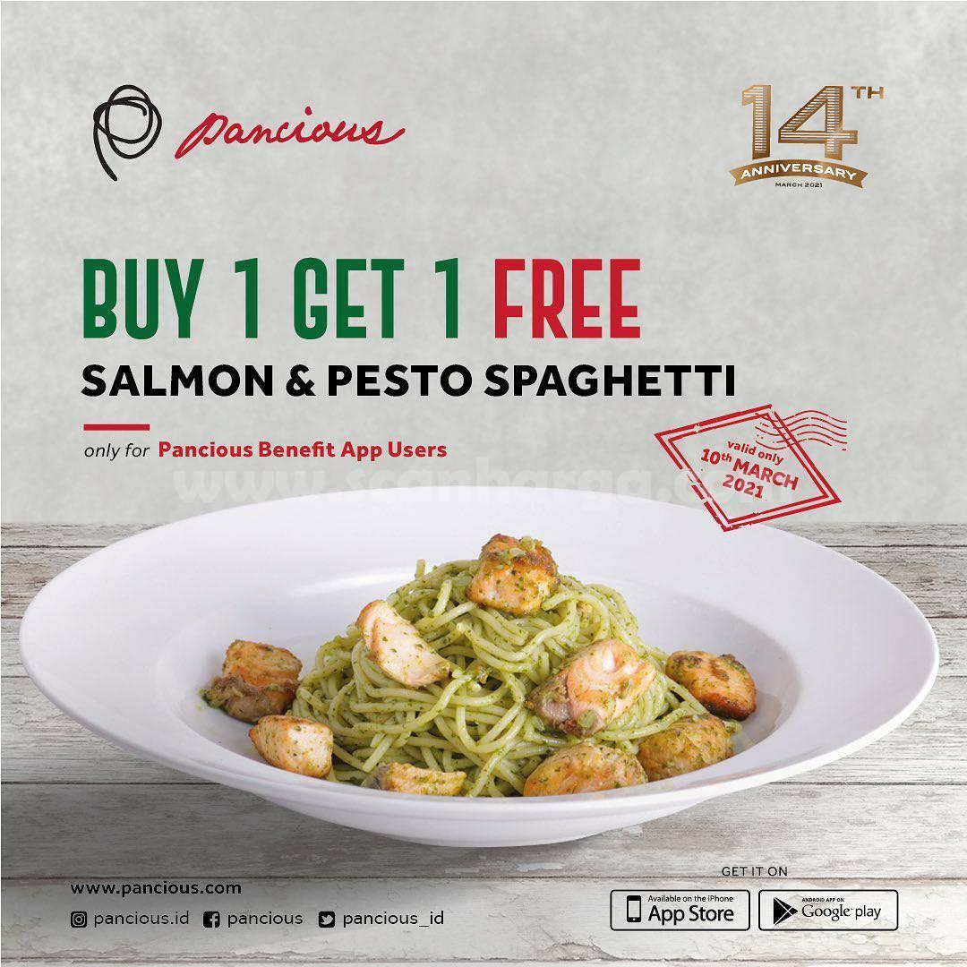Promo Pancious Salmon & Pesto Spaghetti Beli 1 Gratis 1