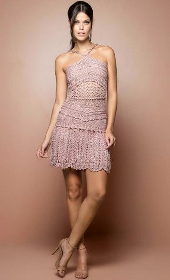 Vanessa Montoro vestido curto de crochê com alças